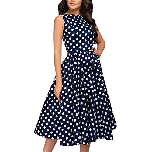 BOLUBILUY Summer Dresses for Women,Sleeveless Polka Dot Loose Swing Flowy Dress Elegant Vintage Zip Knee Length Dress Blue ()
