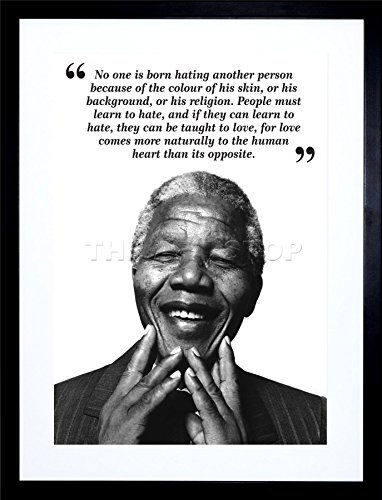 Photo Mandela Nelson (9x7 INCH NO ONE IS BORN HATING NELSON MANDELA BW TYPOGRAPHY QUOTE FRAMED WALL ART PRINT PICTURE PAINTING WOODEN PHOTO FRAME BLACK WHITE OAK BROWN F97X631)
