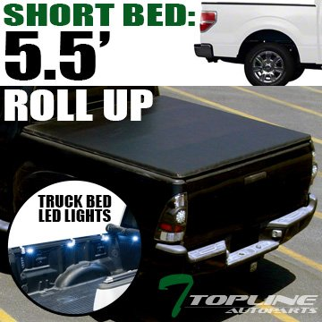 F150 Super Cab Short Bed - Topline Autopart Lock & Roll Up Soft Vinyl Tonneau Cover & Truck Bed LED Lighting System For 04-14 Ford F150 Super Crew (Crew) Cab Short Bed ; 06-08 Lincoln Mark LT 5.5 Feet (66