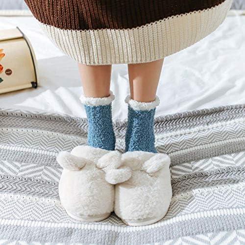 Warm bed socks happyhouse009 Winter Women Cosy Floor walking socks Solid Color Coral Fleece Warm Soft Fluffy Middle Tube Bed Floor Socks Light Pink