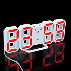 Modern Digital LED Clock,OULucicy Easy to Read at Night Extra Bright LED Desk / Wall Hanging Digital Alarm Clock, 3 adjustable brightness levels (Red Digital)