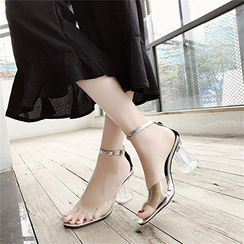 YMFIE Verano Europeo Transparente Tacones Zapatos Boca de Pescado Sandalias de Damas Sexy Dedos Crystal High Heels,35 UE 36 EU