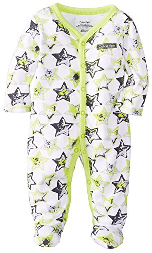 Calvin Klein Baby-Boys Newborn Lime Printed Stretchie, Gray/Lime, 6-9 Months