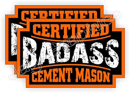 (2) Badass CEMENT MASON Hard Hat Stickers | Motorcycle Helmet Decals | Concrete Brick Mortar Driveway Sidewalk Patio Bad Ass Welder Labels -