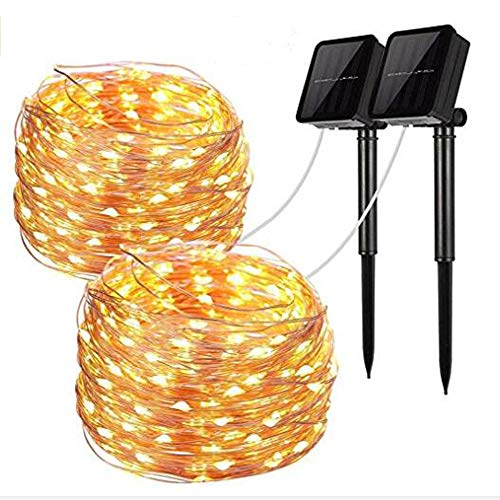 OBTANIM LED Christmas String Lights Solar Powered, Warm White, Outdoor/Indoor Waterproof 33ft 100 LED 8 Modes, for Patio, Garden, Gate, Yard, Party, Wedding, Christmas,[2018 Upgraded]-2 Pack by OBTANIM