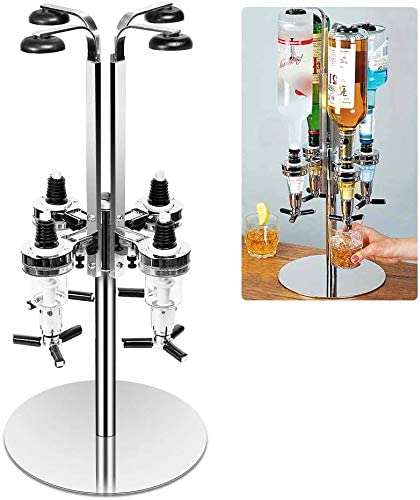 4Bottle Rotated Mounted Holder Wine Liquor Dispenser Alcohol Drink Shot Cabinet