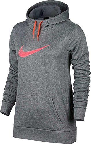 Nike Womens Therma All Time Graphic Hoodie (Dk Grey Heathr/Racer Pink, S)
