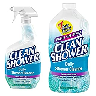 Clean Shower Daily Shower Starter Kit Refill Bundle Pack, 1 Spray Bottle, 1 Refill