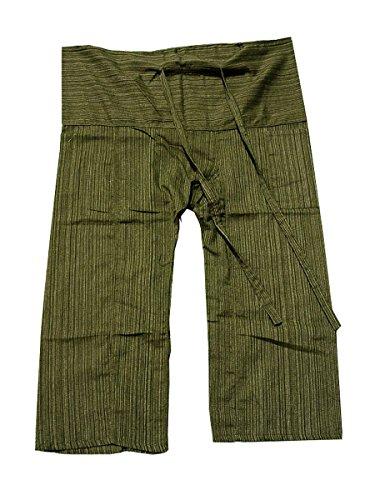 (Original Thai Fisherman Fisher Yoga Pants Trouser stripe-Dark Olive Green)