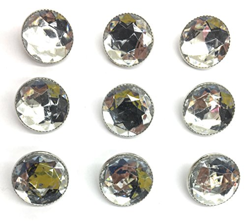 9 Rhinestone Buttons with Nickle Rim 5/8'' for Dress, Blouses, Shirts