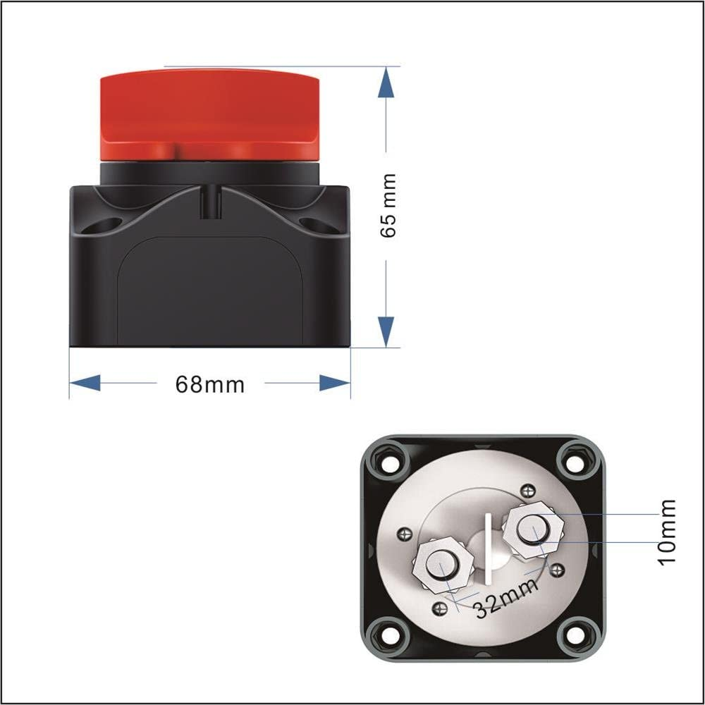 12//24v On//off Battery Isolator Kill Switch Boat,Caravan Rv 1250A//275A Waterproof