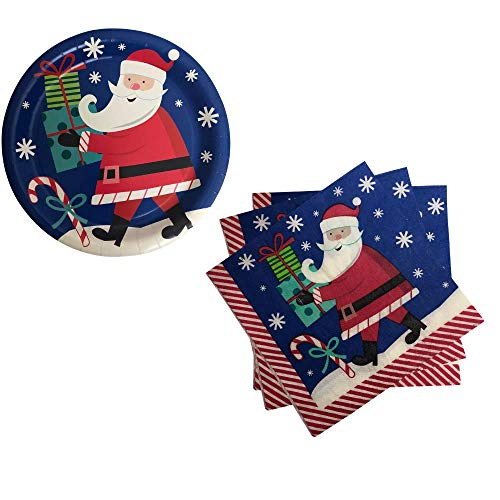 Holiday Christmas Santa Party Supplies, Serves 18 People (Includes 18 Large Paper Plates, and 20 Party Napkins)