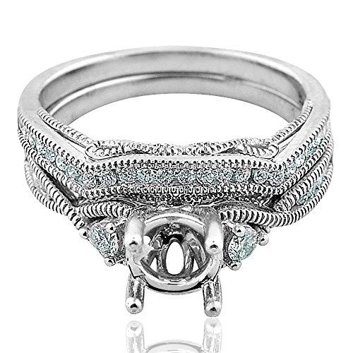 (Midwest Jewellery 14K White Gold Wedding Ring Set Semi Mount 1/3ctw Diamonds Fits 1ct Round Solitaire (i2/i3, I/j))