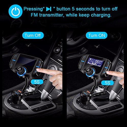 Bluetooth FM Transmitter with QC 3.0, LUMAND Wireless in-Car Radio Adapter Hands Free Car Kit with 1.7 inch Display and Dual USB Car Charger AUX Input TF Card Slot by LUMAND (Image #5)