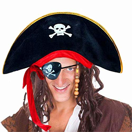 D-Fokes Pirate Hat Party Captain Costume Cap Halloween Masquerade Cosplay Accessories Props with Eye -