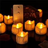 Dellukee Cute Realistic LED Tea Lights with Remote Yellow Drop Tear Flickering Electric Bright Small Flameless Candles 48 Pack for Halloween Christmas New Year Family Party Decoration