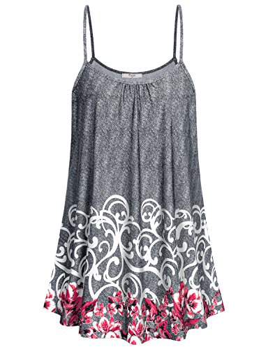 Cestyle Cami Tank Tops for Women, Ladies Sleeveless Round Neck Floral Printed Long Shirts Plus Size Spaghetti Strap Camisoles Tunic Blouse Deal Day Prime Grey Medium ()