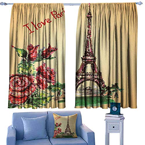 Vintage Simple Curtain Love Valentines in Paris Lettering Eiffel Tower Macrame Effect Watercolor Privacy Protection 55