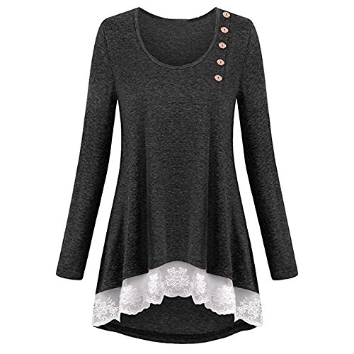 Clearance Costumes,Toimoth Womens Pure Color Long Sleeve Lace T-Shirts Casual Loose Tops Tunic Blouse(Dark Gray,XL)