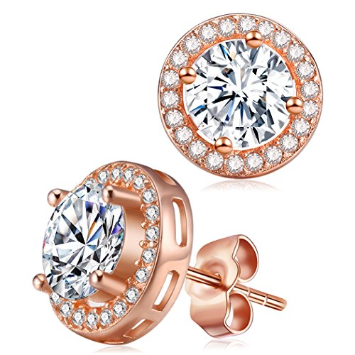 Halo Diamond Rose Gold Earrings, Cat Eye Jewels S925 Sterling Silver AAA Round CZ Cubic Zircona Stone E014-RG