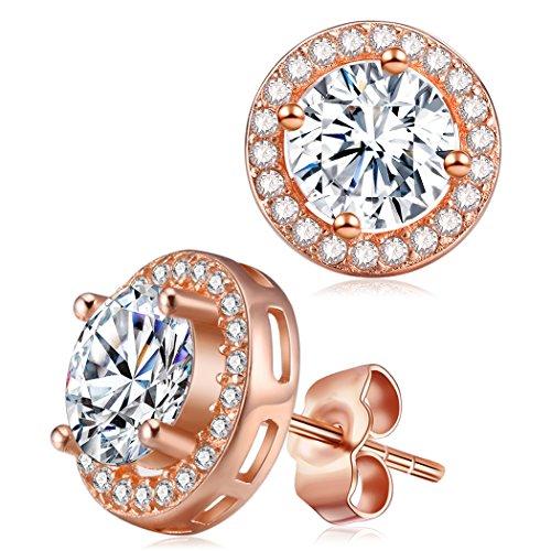 (Halo Diamond Rose Gold Earrings, Cat Eye Jewels S925 Sterling Silver AAA Round CZ Cubic Zircona Stone)