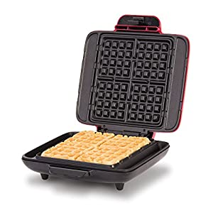 Dash DNMWM400AQ Waffle Maker Machine Chaffles, Paninis, Hash browns, or any Breakfast, Lunch & Snacks with Easy Clean, Non-Stick + Mess Free Sides, 1200 Watt, Aqua