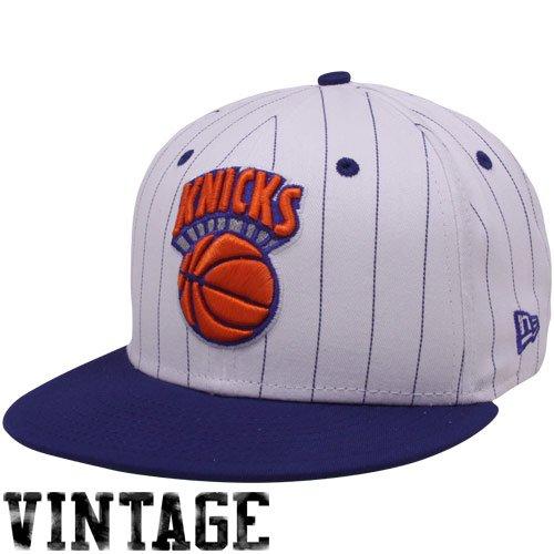 New Era New York Knicks White-Royal Blue Pinstripe 9Fifty Snapback Adjustable ()