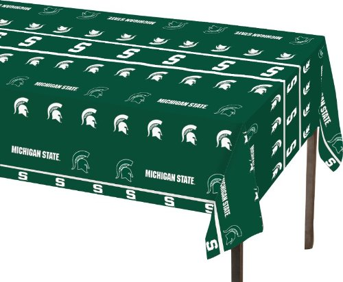 Creative Converting Michigan State Spartans Plastic Table Cover, 54