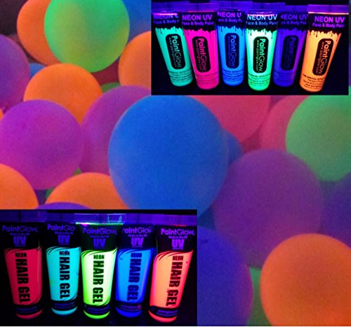 Blacklight Party Supplies - Balloons, Face and Body Paint, and Hair Gel That Glow in The Dark Under Blacklight - Neon Flourescent Balloons, Paint, and Gel