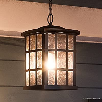 "Luxury Craftsman Outdoor Pendant Light, Medium Size: 15""H x 9.5""W, with Tudor Style Elements, Highly-Detailed Design, Oil Rubbed Parisian Bronze Finish and Water Glass, UQL1251 by Urban Ambiance"