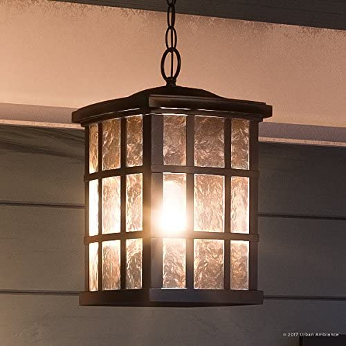 Luxury Craftsman Outdoor Pendant Light, Medium Size 15 H x 9.5 W, with Tudor Style Elements, Highly-Detailed Design, Oil Rubbed Parisian Bronze Finish and Water Glass, UQL1251 by Urban Ambiance