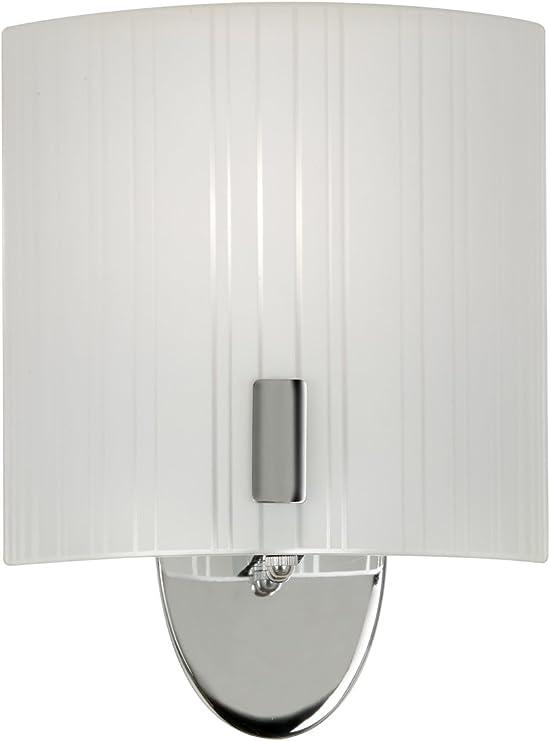 Imagen deOaks Lighting 817 CH Zafra - Lámpara de pared con pantalla de cristal curvada, color cromo