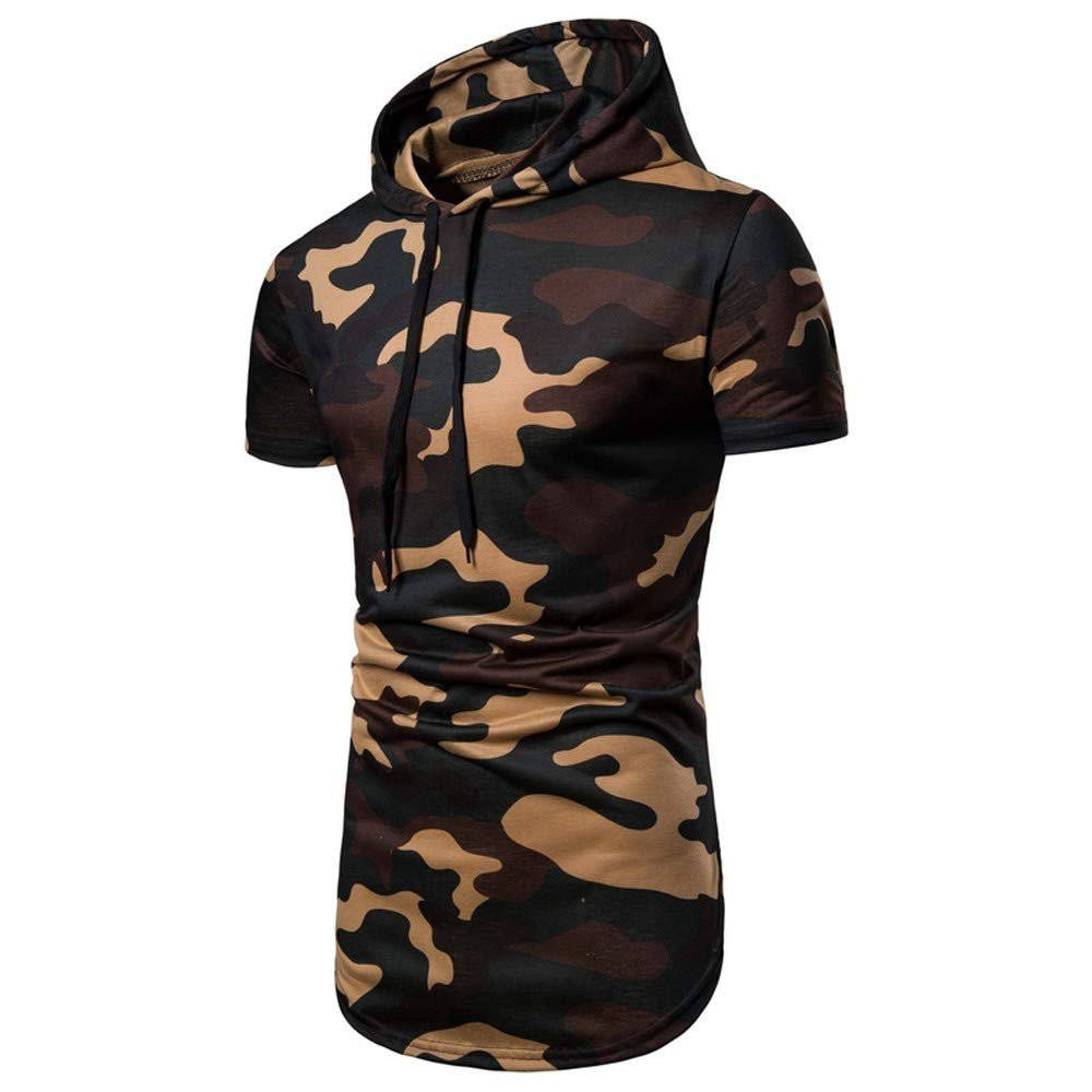 Clearance! Casual Camouflage Short Sleeve Pullover Autumn Sweatshirt Hoodie Coat Top PASATO Mens Coat Top Featured(Khaki, L)