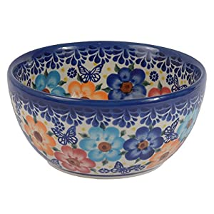 Traditional Polish Pottery, Handcrafted Ceramic Cereal or Salad Bowl 360ml (d. 13cm), Boleslawiec Style Pattern, M.701.Meadow
