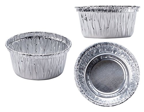 100 piece Aluminum Foil Muffin Cupcake Ramekin 4 oz Cups Disposable Accommodates hot or cold foods Top circle diameter is 3.2″;Bottom circle diameter is 2.2″;Height 1.7″