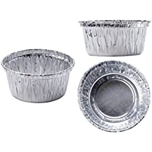 """100 piece Aluminum Foil Muffin Cupcake Ramekin 4 oz Cups Disposable Accommodates hot or cold foods Top circle diameter is 3.2"""";Bottom circle diameter is 2.2"""";Height 1.7"""""""