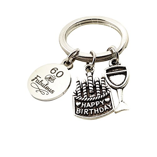 - Birthday Gifts for Her Stainless Steel Expandable Key Chain 16th 18th 30th 40th 50th 60th Jewelry Key Ring Gift (60th Birthday)