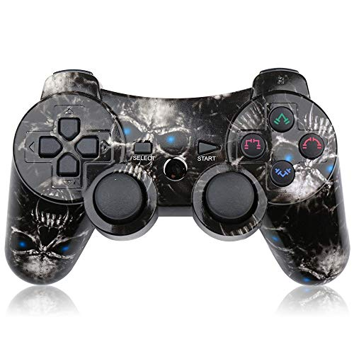 CHENGDAO PS3 Controller Wireless Double Shock Gamepad for Playstation 3 Remotes,Six-axis Wireless PS3 Controller with Charging Cable - Skull