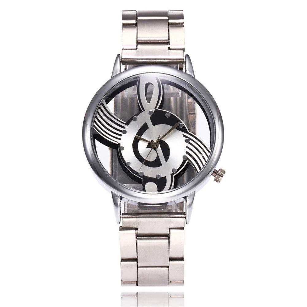 GBVFCDRT Mode Hohl Musik Hinweis Notation Uhr Edelstahl Quarz Armbanduhr Für Männer Frauen Silber Mesh Uhren