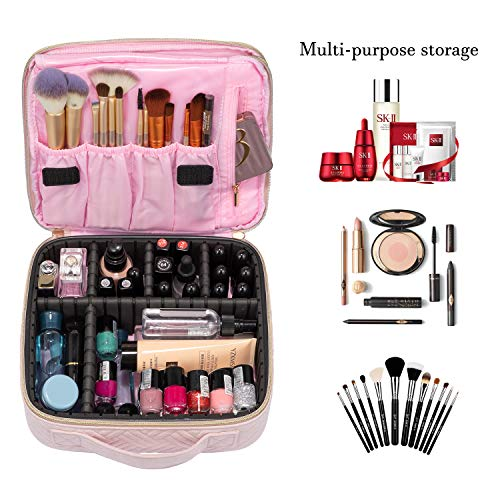 Makeup Bag Travel Cosmetic Bag Quilted Makeup Train Case for Women and Girls, with Jewelry Organizer and Mirror