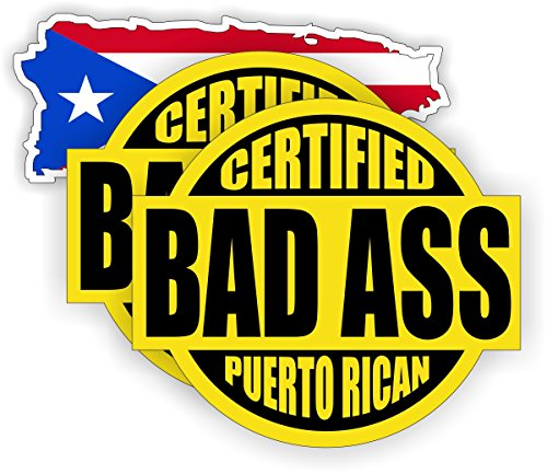Bad Ass Puerto Rican Hard Hat Stickers + Flag of Puerto Rico | Badass Motorcycle Helmet Decals | Labels Toolbox Welder Motorcycle Laptop Notebook Laborer Carpenter Plumber Construction