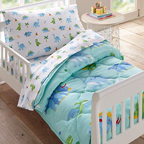 - Wildkin 4 Piece Toddler Bed-in-A-Bag, 100% Microfiber Bedding Set, Includes Comforter, Flat Sheet, Fitted Sheet, and Pillowcase, Coordinates with Other Room Décor, Olive Kids Design - Dinosaur Land