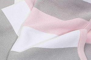 Manta de bebé hecha de 100% algodón orgánico - manta de punto ideal como manta de bebé, primera manta, manta de lana o manta de bebé en menta/blanco natural para niñas y