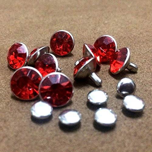 Garment Rivet - 100 Sets 8mm Red Acrylic Crystals Rhinestone Rivets Rapid Silver Nailhead Spots Studs DIY Shipping Free