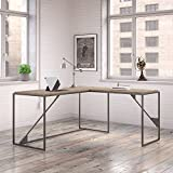 Bush Furniture Refinery 62W L Shaped Industrial Desk with 37W Return in Rustic Gray For Sale