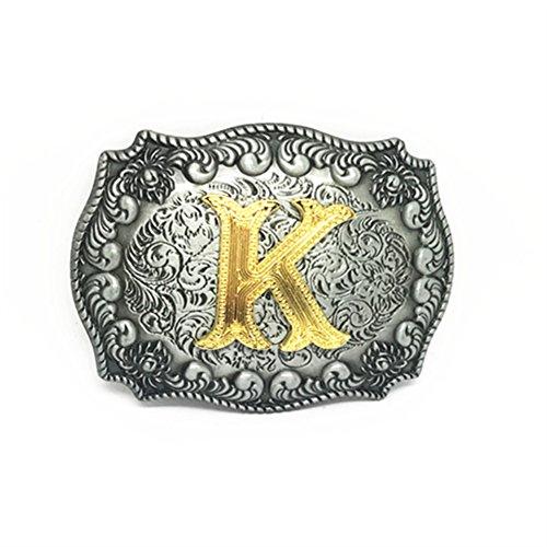 KeCol Adult Mens Initial Letters Western Cowboy Alphabet Rodeo Belt Buckle Letter ()