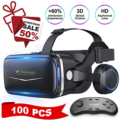 Pansonite Vr Headset with Remote Controller[Upgrade Version], 3D Glasses Virtual Reality Headset for VR Games & 3D Movies, Eye Care System for iPhone and Android Smartphones ()