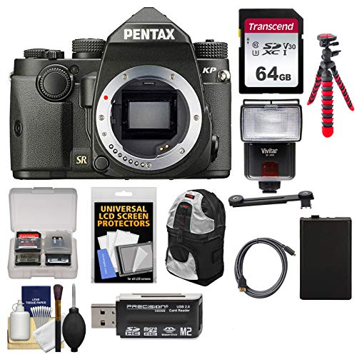 (Pentax KP Wi-Fi Digital SLR Camera Body (Black) with 64GB Card + Backpack + Flash + Battery + Tripod + Diffuser + Kit)