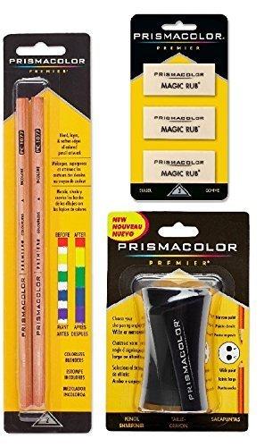 Prismacolor Premier Accessory Set, Includes Colorless Blender Pencils (2 Piece), Premier Pencil Sharpener(1 Piece) & Magic Rub Erasers (3 Piece)