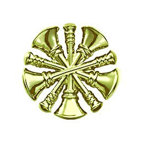 Department Lapel Pin - First Class Fire Department Bugle Chief Rank Collar Lapel Pin Insignia (Pair) - Brass